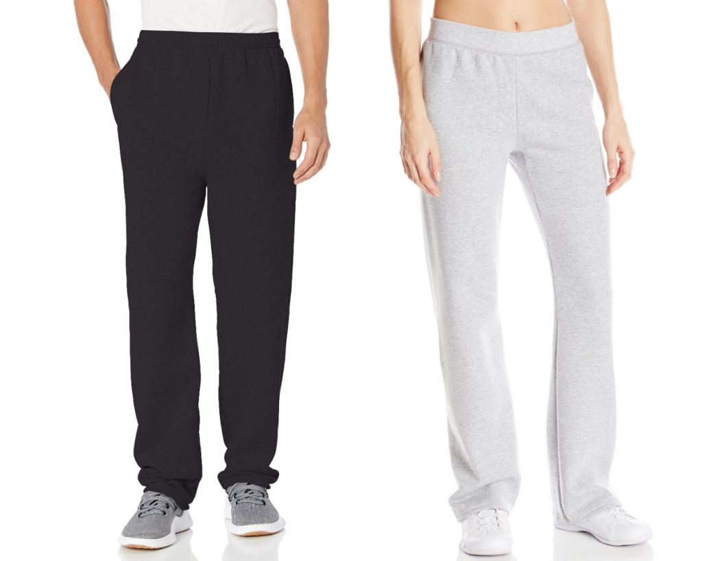 hanes sweatpants in black and gray