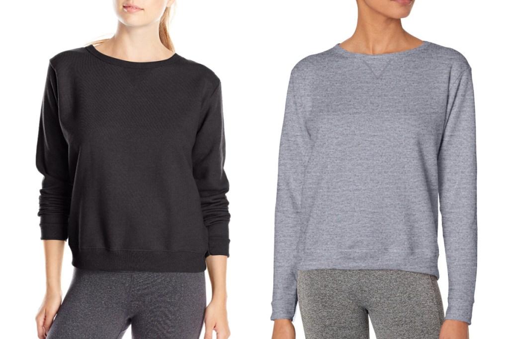 hanes womens sweatshirt in black and gray