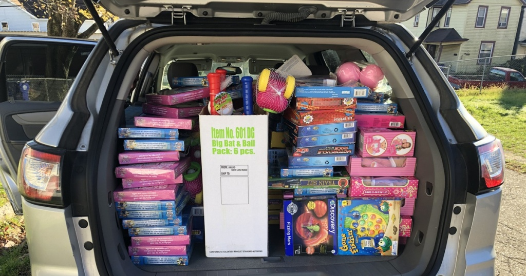 trunk filled with toys and gifts