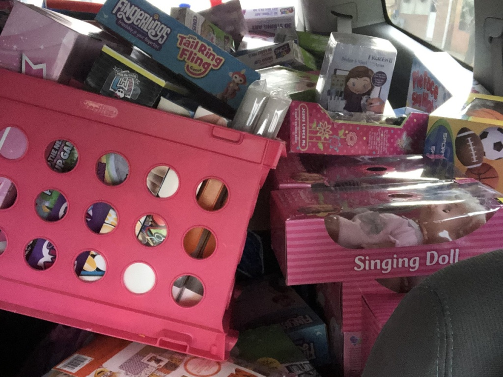 carload of toys and gifts