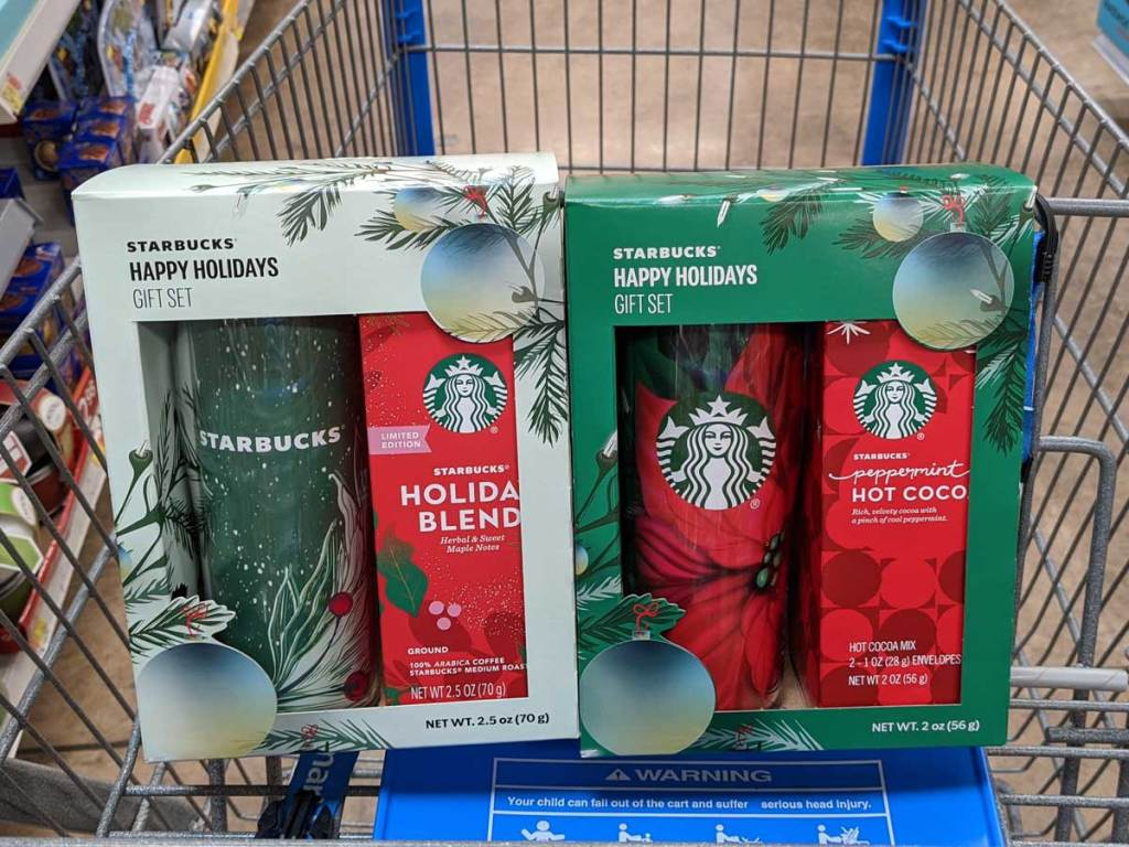 holiday gift sets in a cart