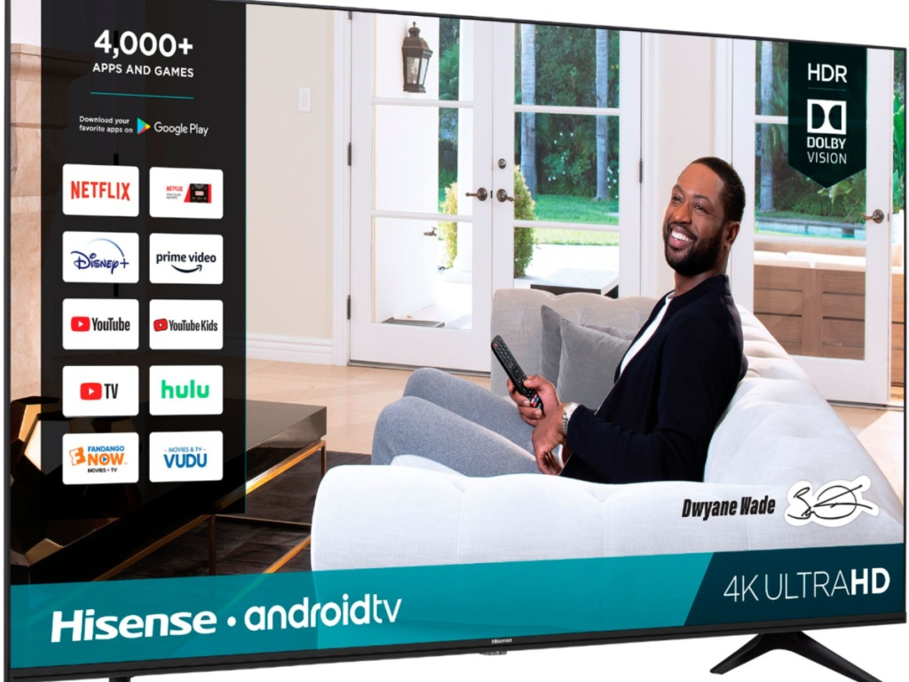 TV with a screen image of a smiling man