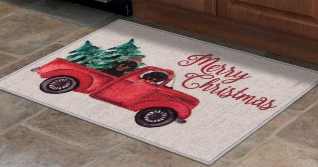 holiday accent rug in kitchen