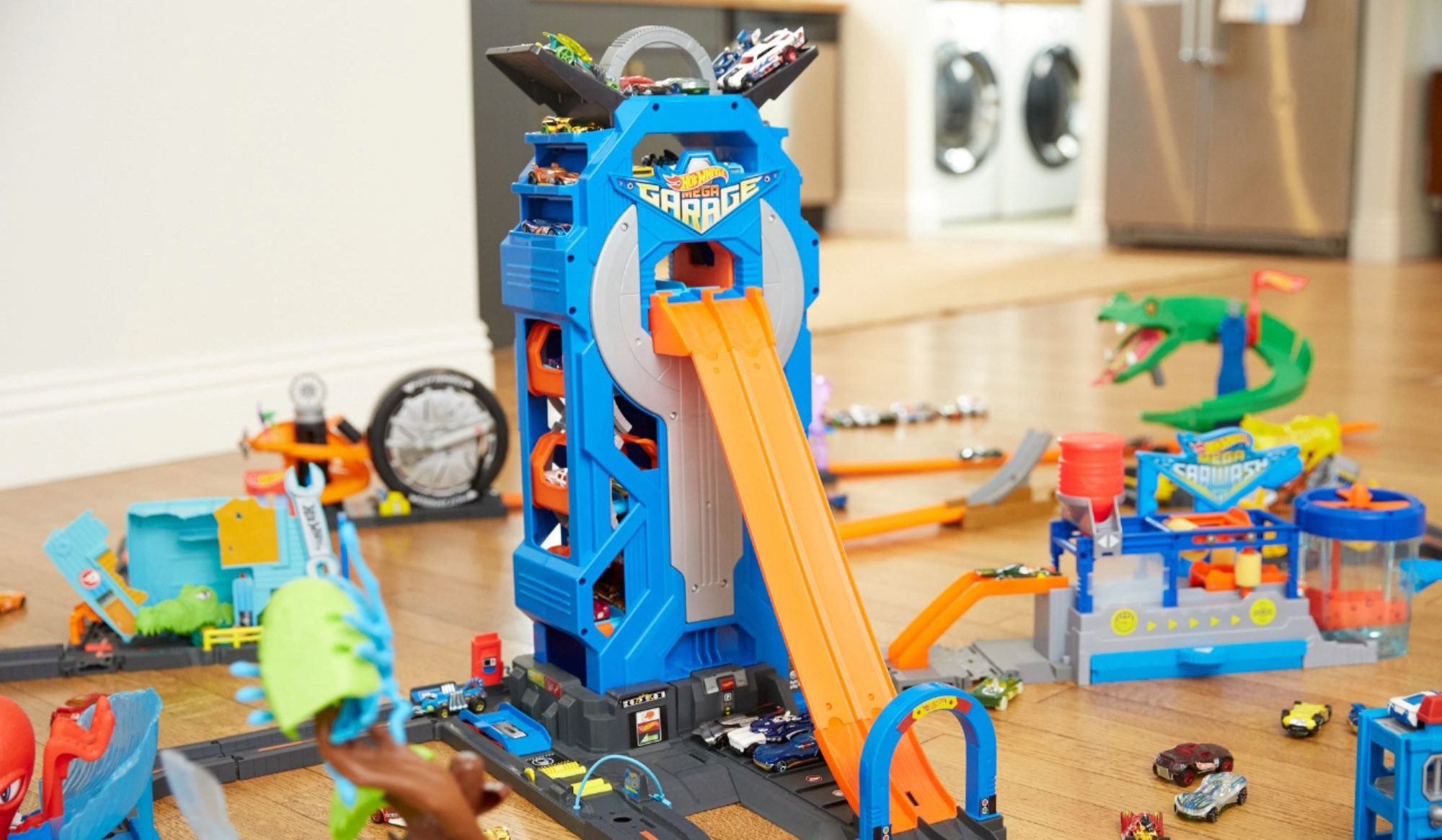 hot wheels mega garage with cars on it