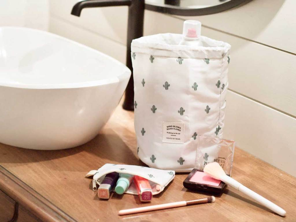 barrel shaped fabric cosmetic bag