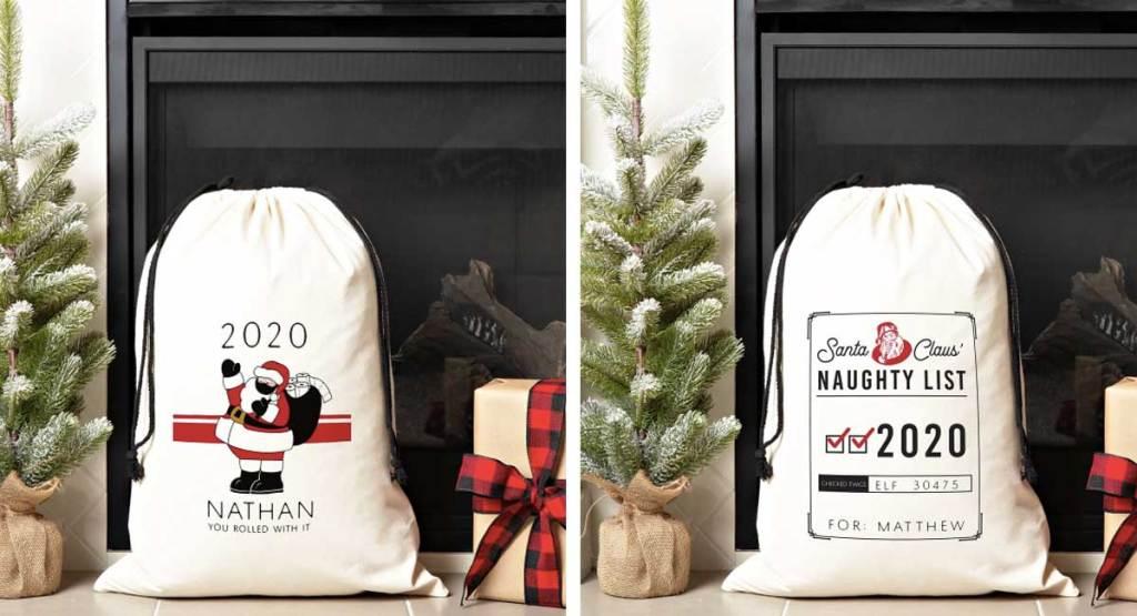 santa canvas gift bags w/ drawstring closure