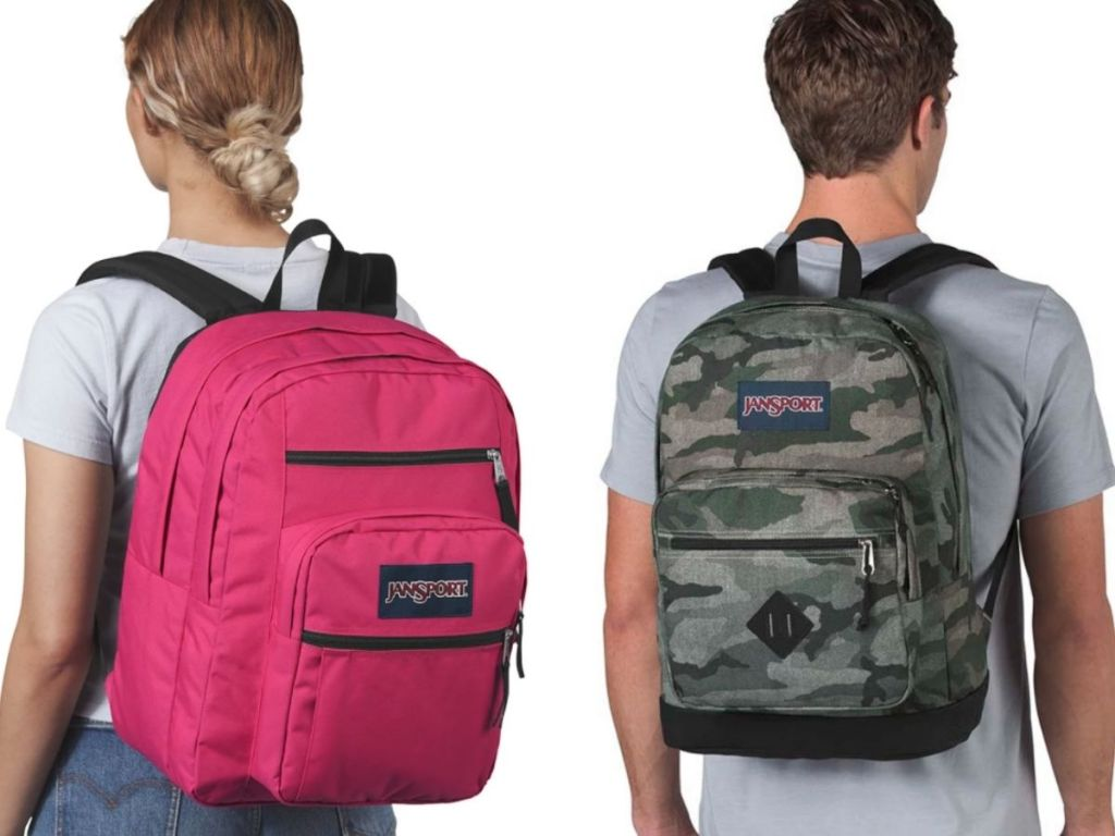 woman and man wearing JanSport backpacks