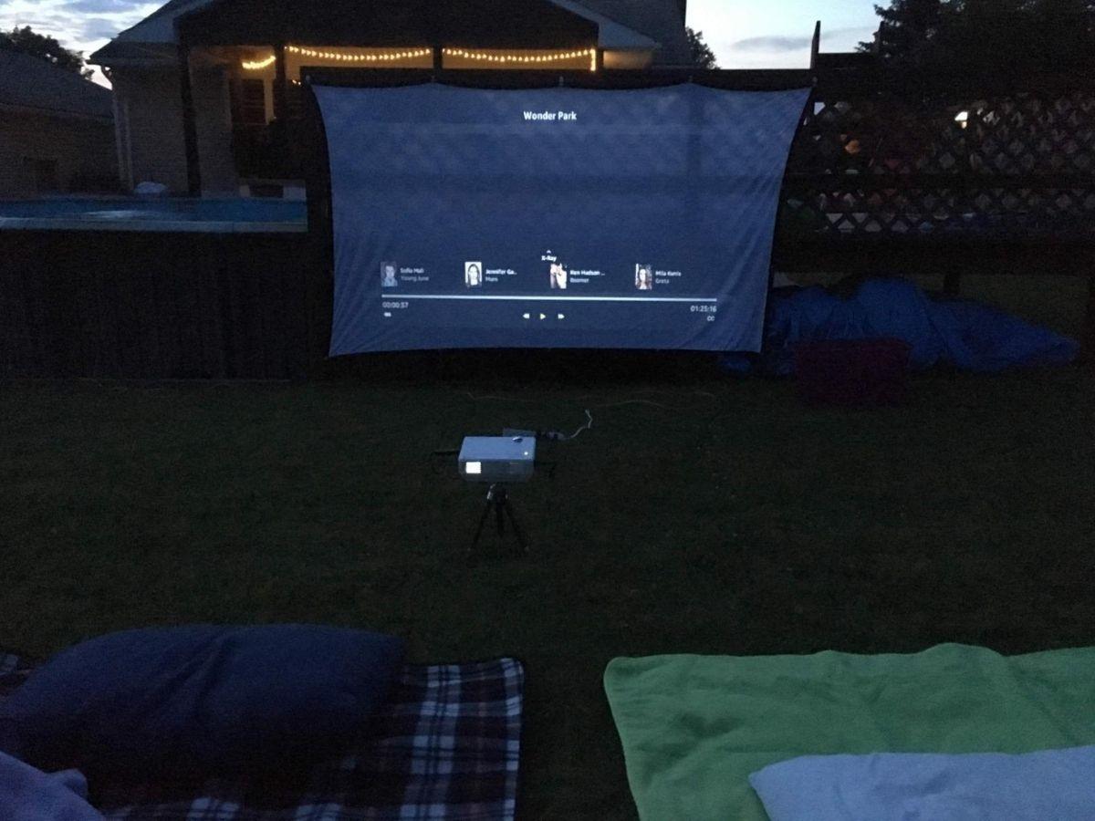 projector outdoors in backyard