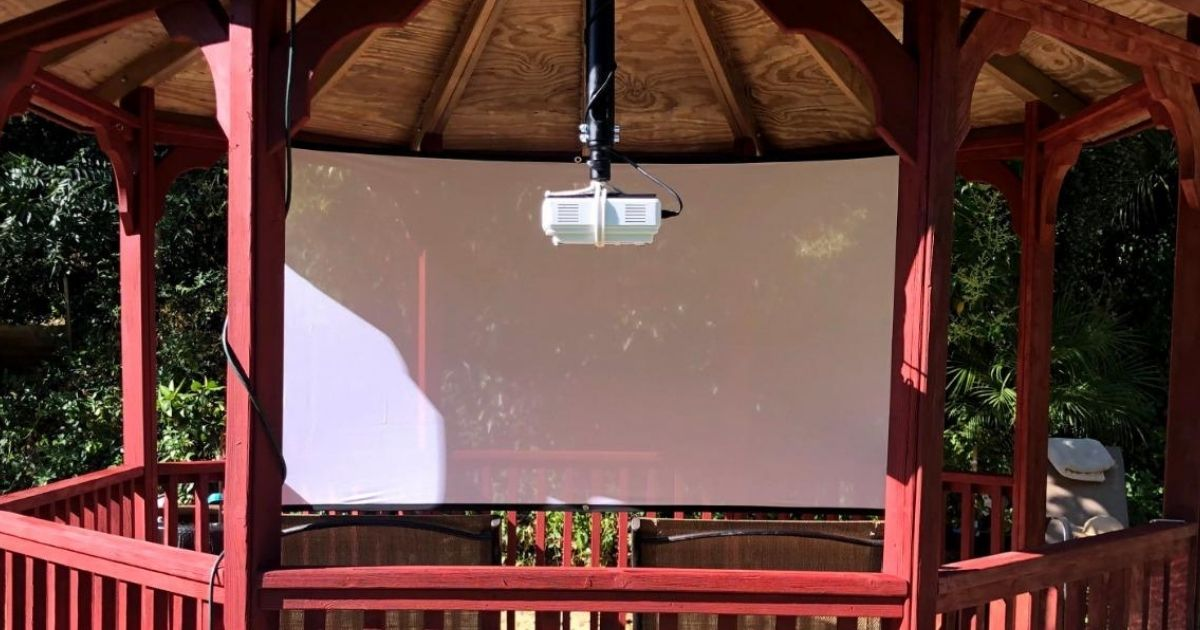 projector hanging from canopy