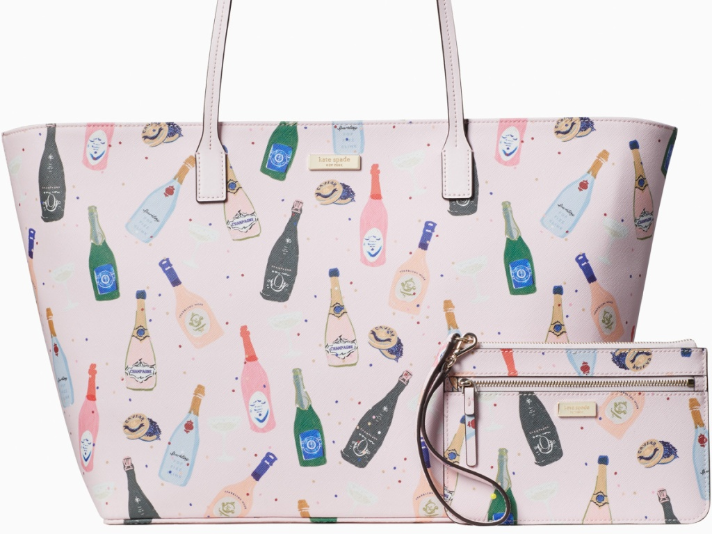 bag tote with champagne bottles on it
