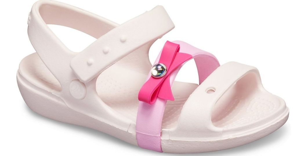 white and pink sandal with pink bow and diamond charm