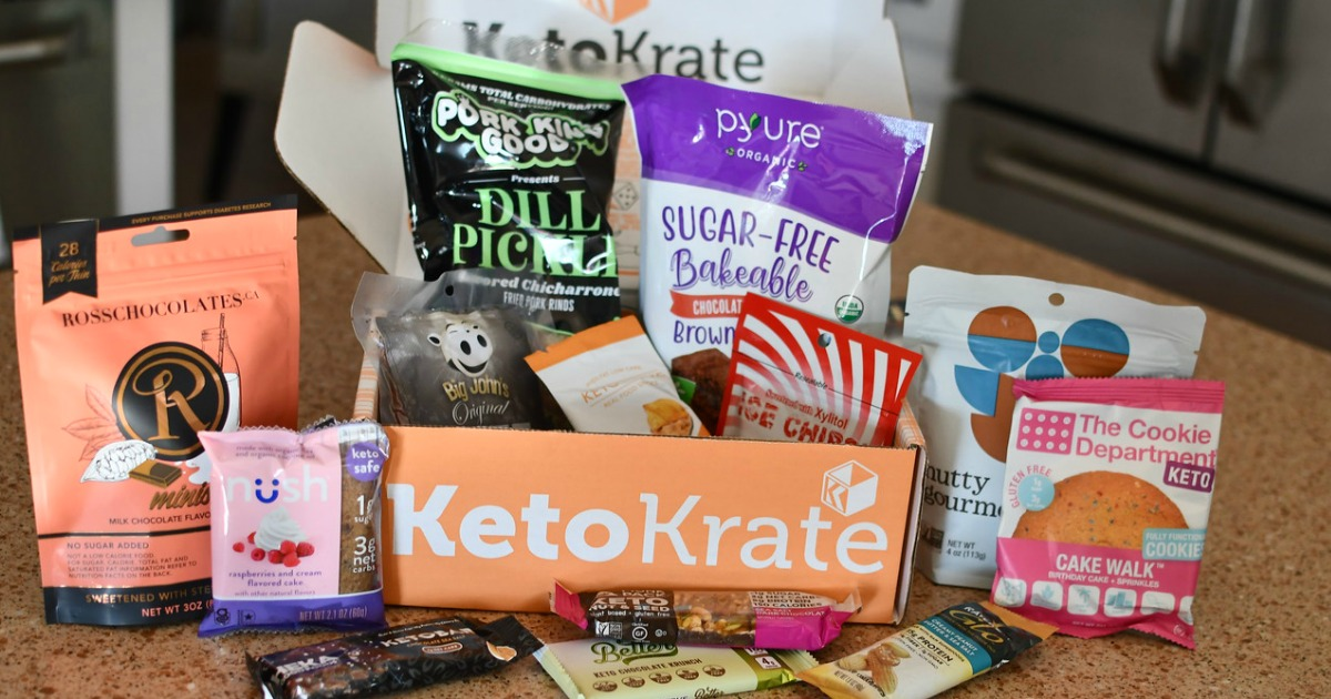 keto krate box and contents on a countertop