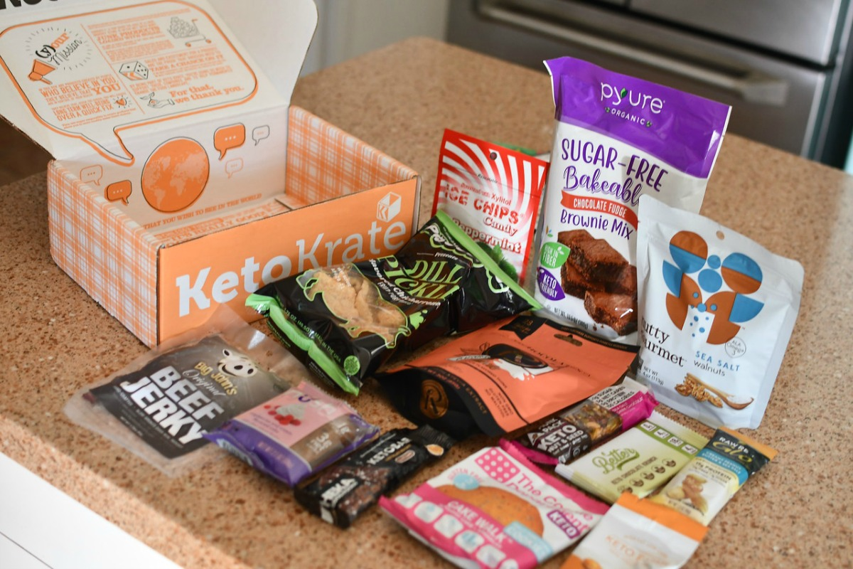 contents of a keto krate box spread on countertop next to open empty box
