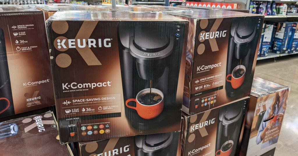 boxes of keurig coffee makers in store