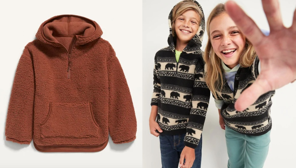 kids sherpa pullovers at old navy