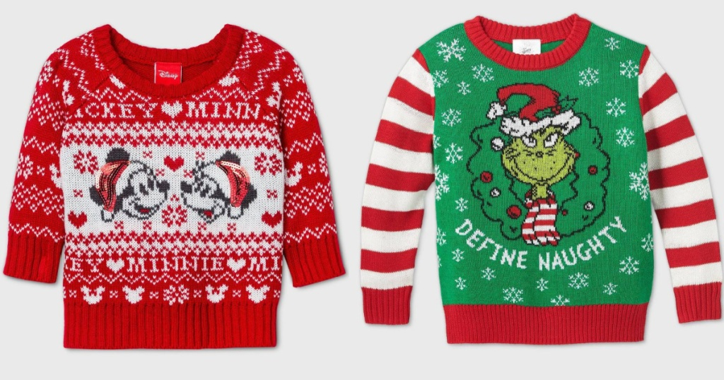 kids ugly sweaters disney and grinch styles
