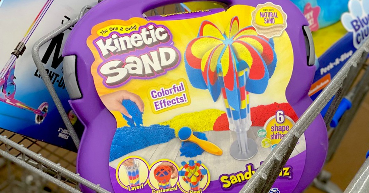 kinetic sand toy playset in store cart