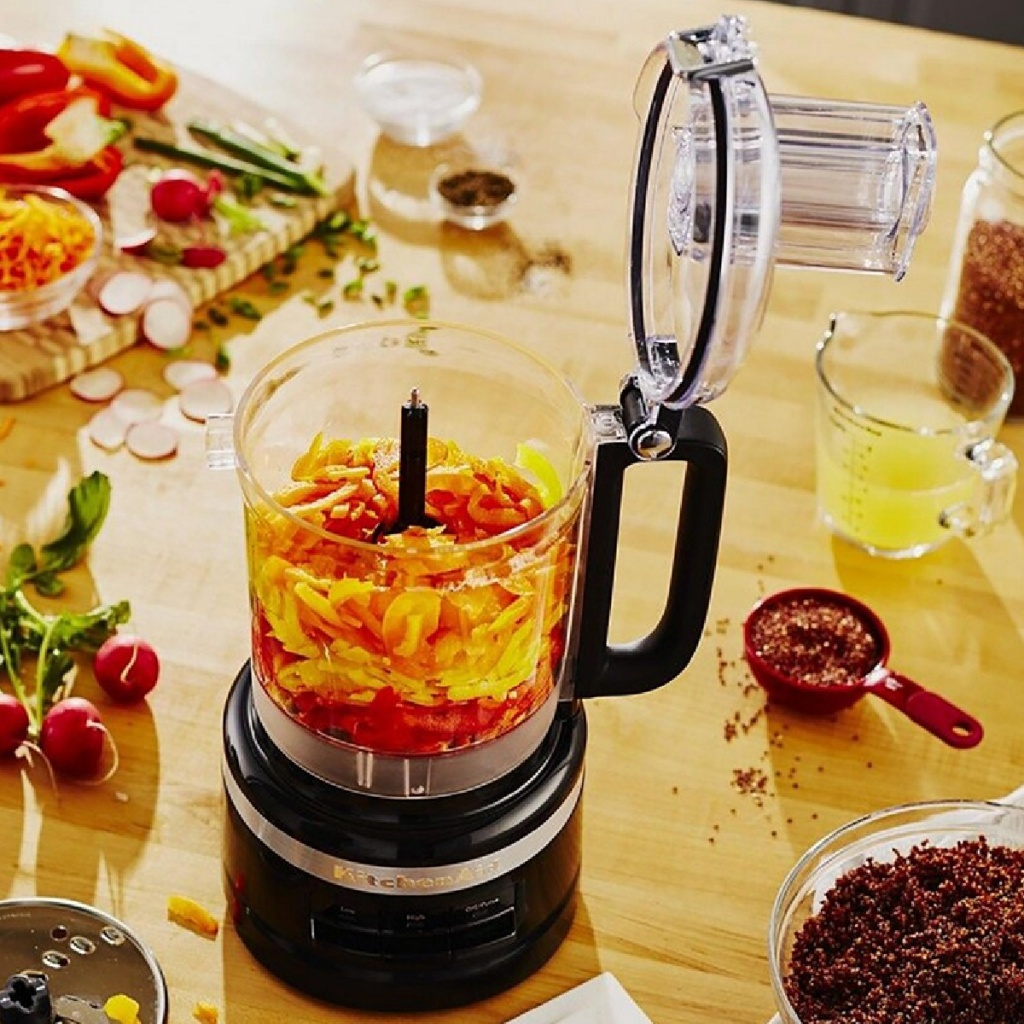 kitchen aid food processor open with food in it