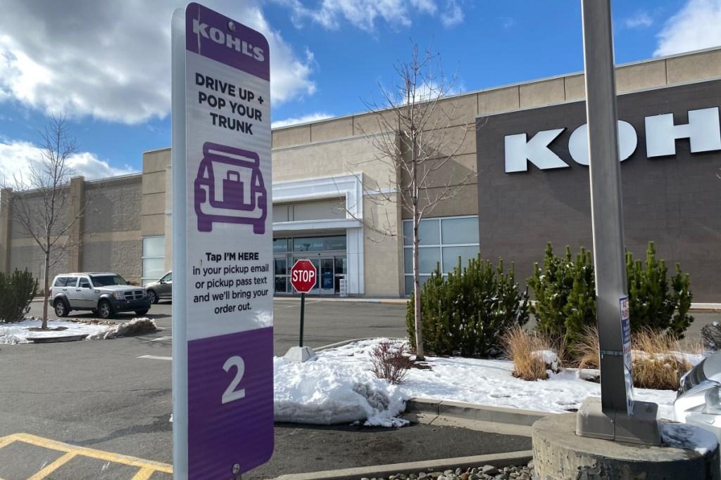 kohl's cubside pickup showing sign outside of kohl's