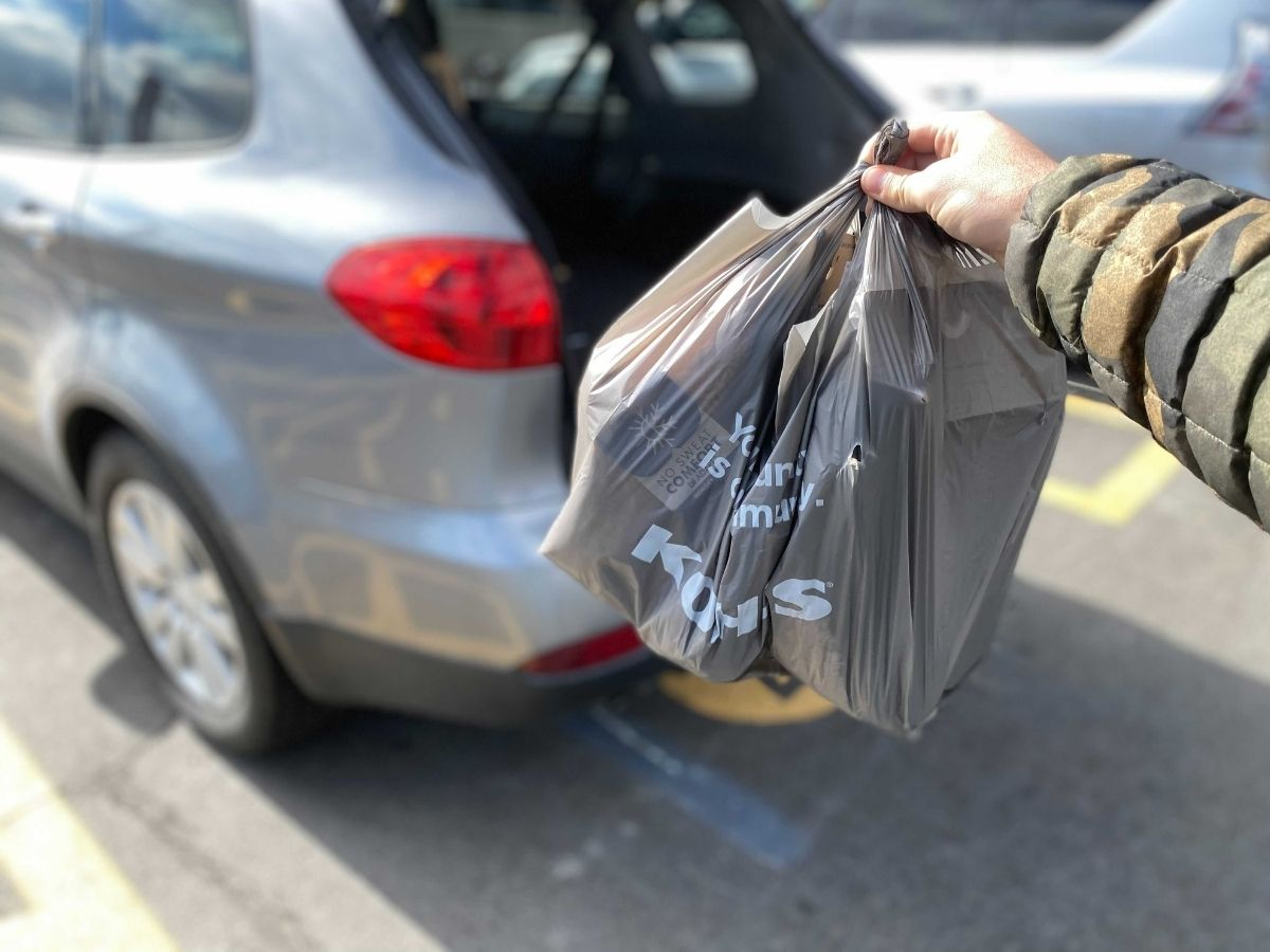 hand holding a Kohl's bag near their trunk