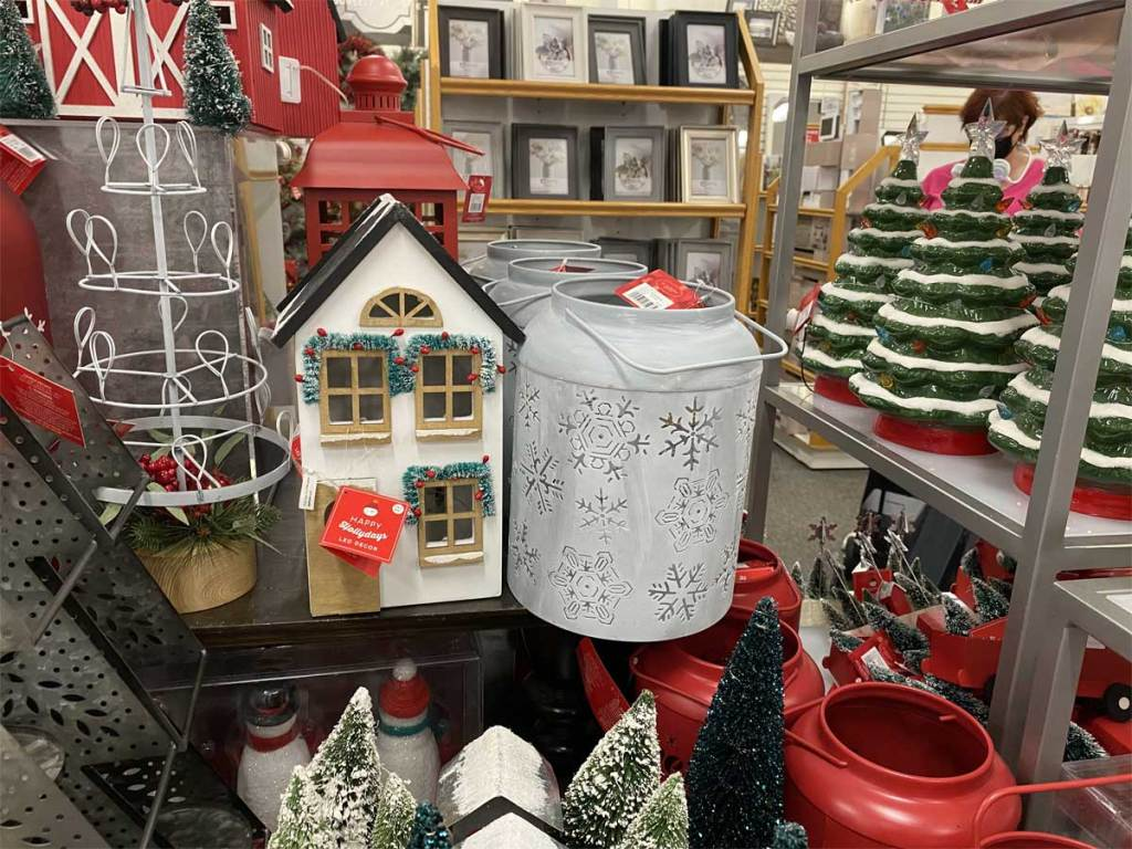 christmas decorations on display in store