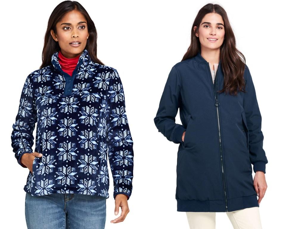 woman wearing snowflake jacket and blue longer jacket