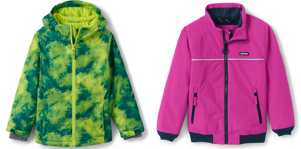green tie dye and pink land's end jacket