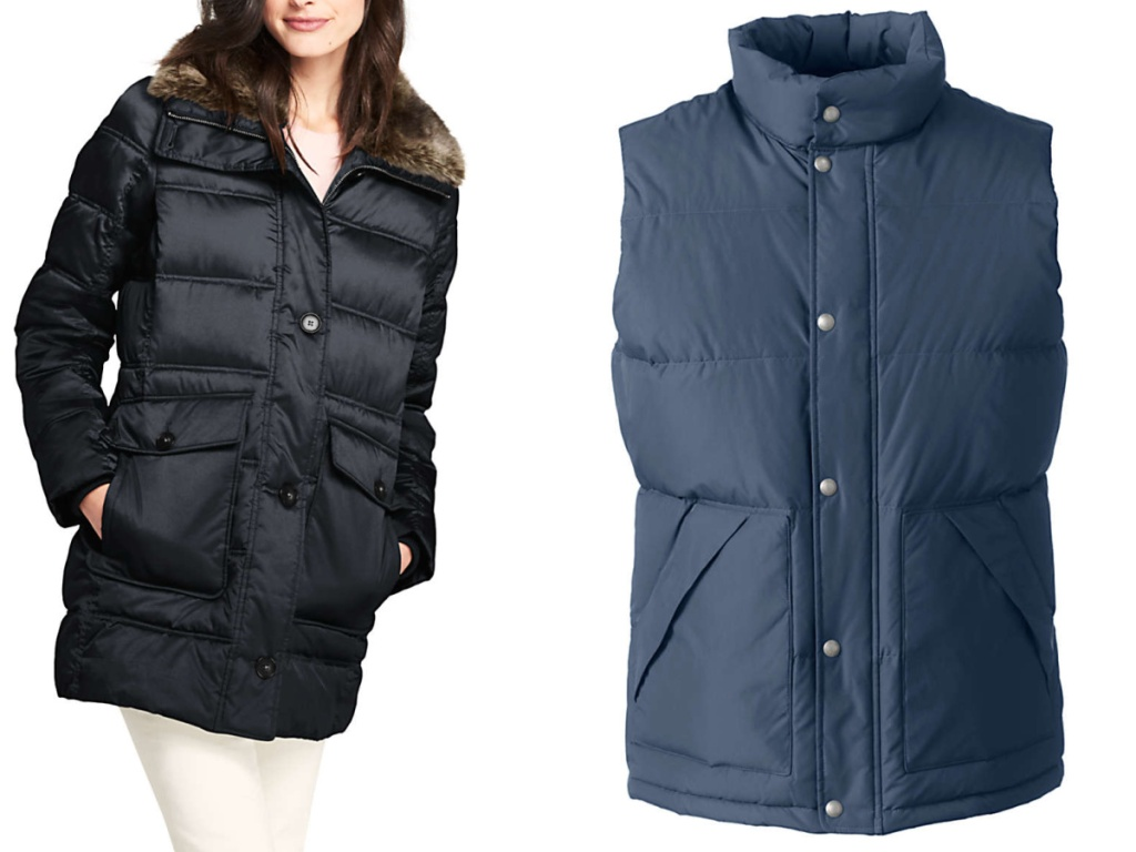 woman wearing black puff jacket and blue puff vest