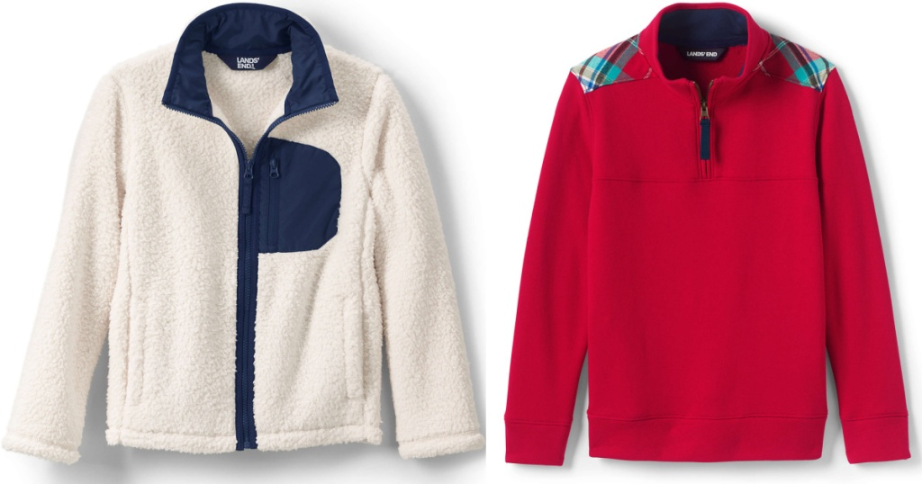 blue and white sherpa jacket and red pulloever