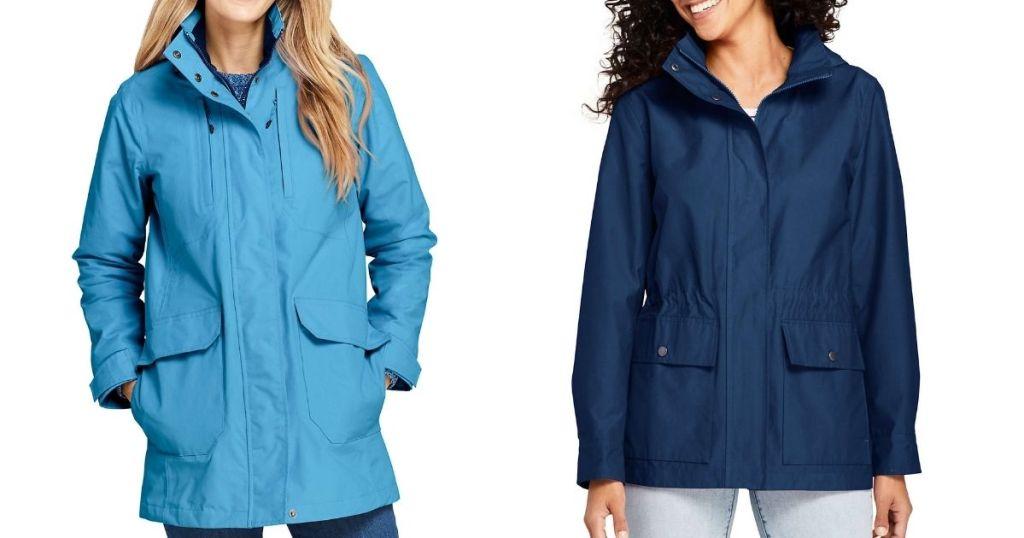 women wearing blue jackets
