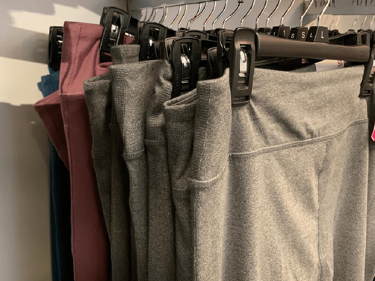 leggings hanging up in store