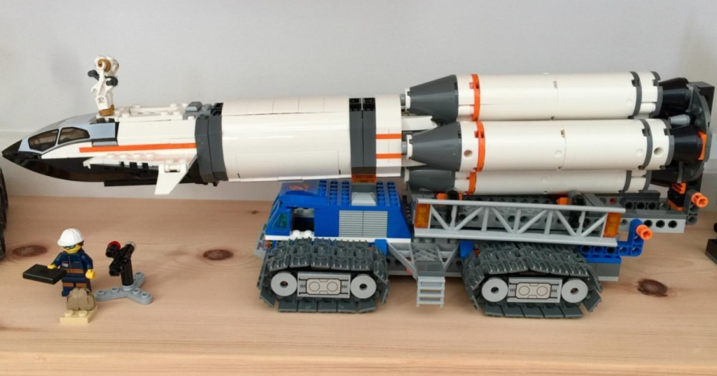 LEGO set built into rocket ship
