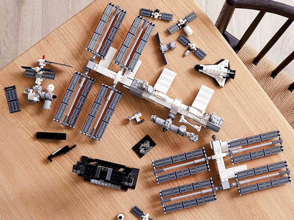 overview of lego space station on table