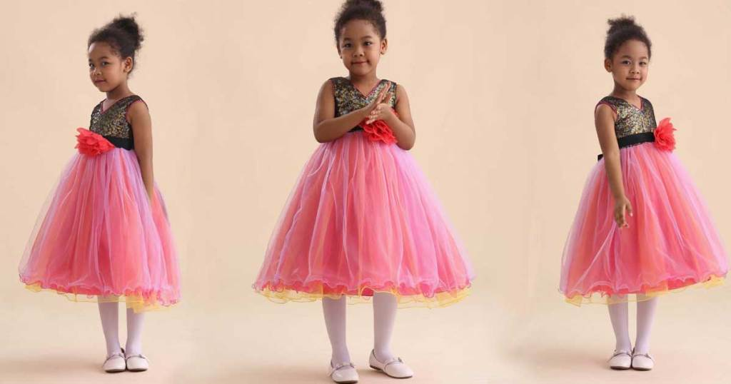 little girl wearing same dress in three poses