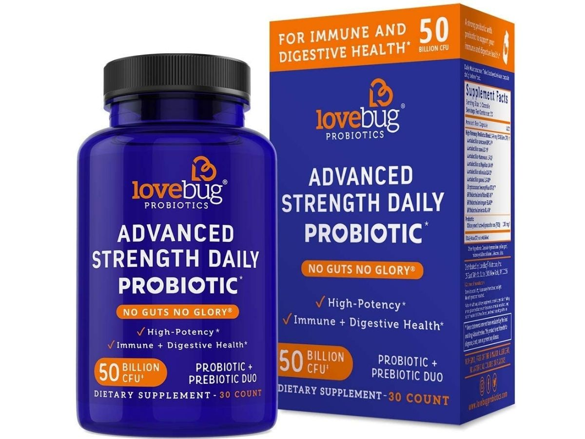 lovebug advanced strength daily probiotic jar and box