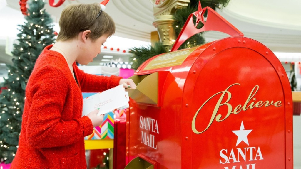girl mailing letter to Santa
