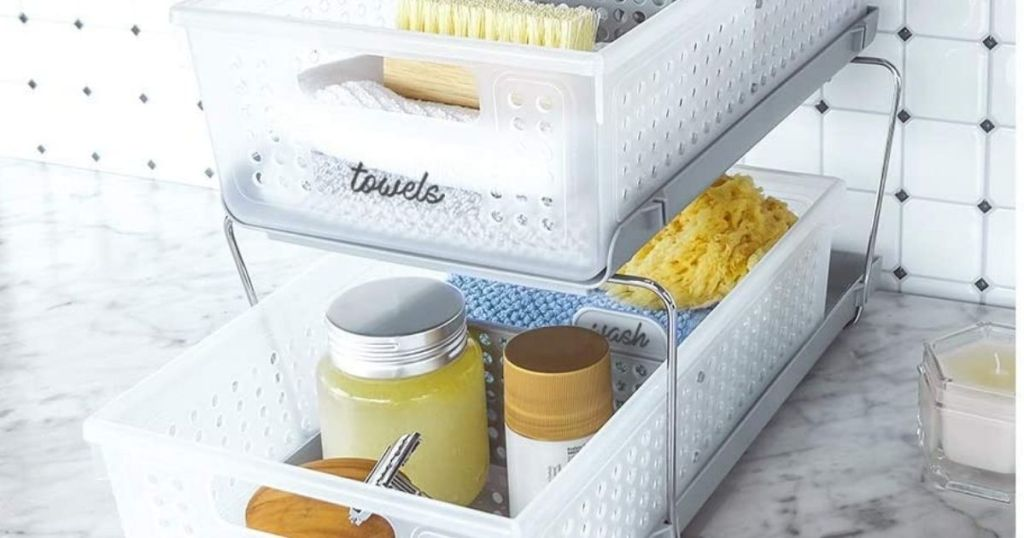 madesmart 2-tier organizer filled with bath items