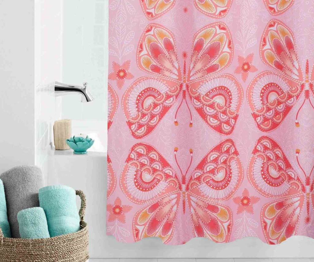 mainstays butterfly shower curtain in bathroom