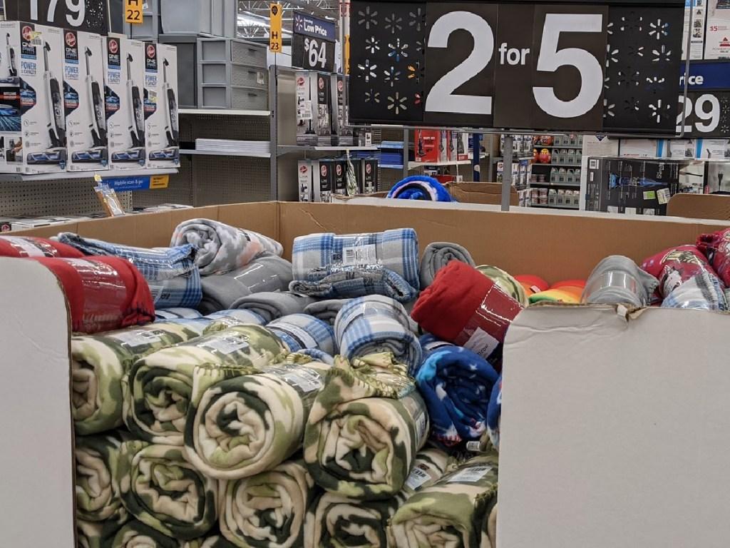 store bin full of blankets