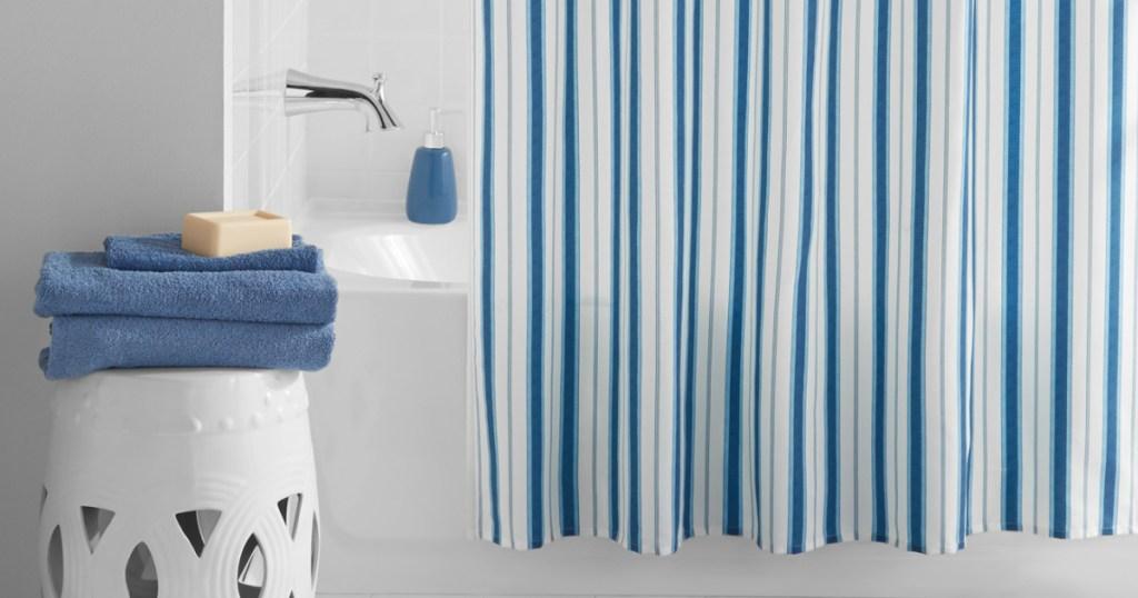 mainstays shower curtain in bathroom