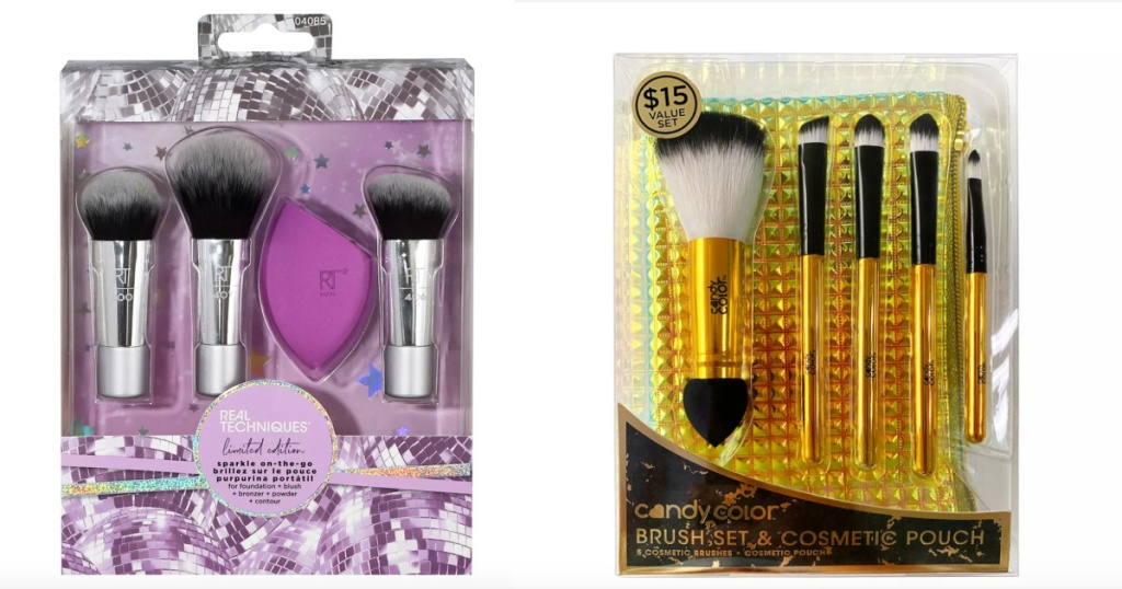 two makeup brush beauty sets