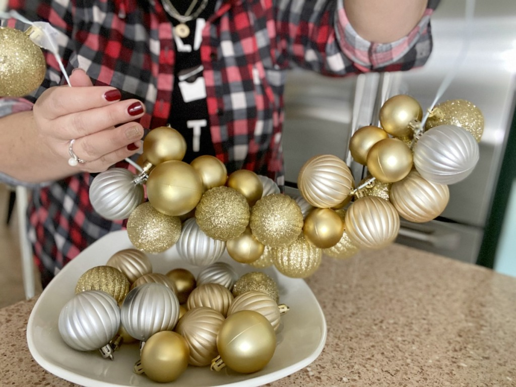making a wire hanger ornament wreath