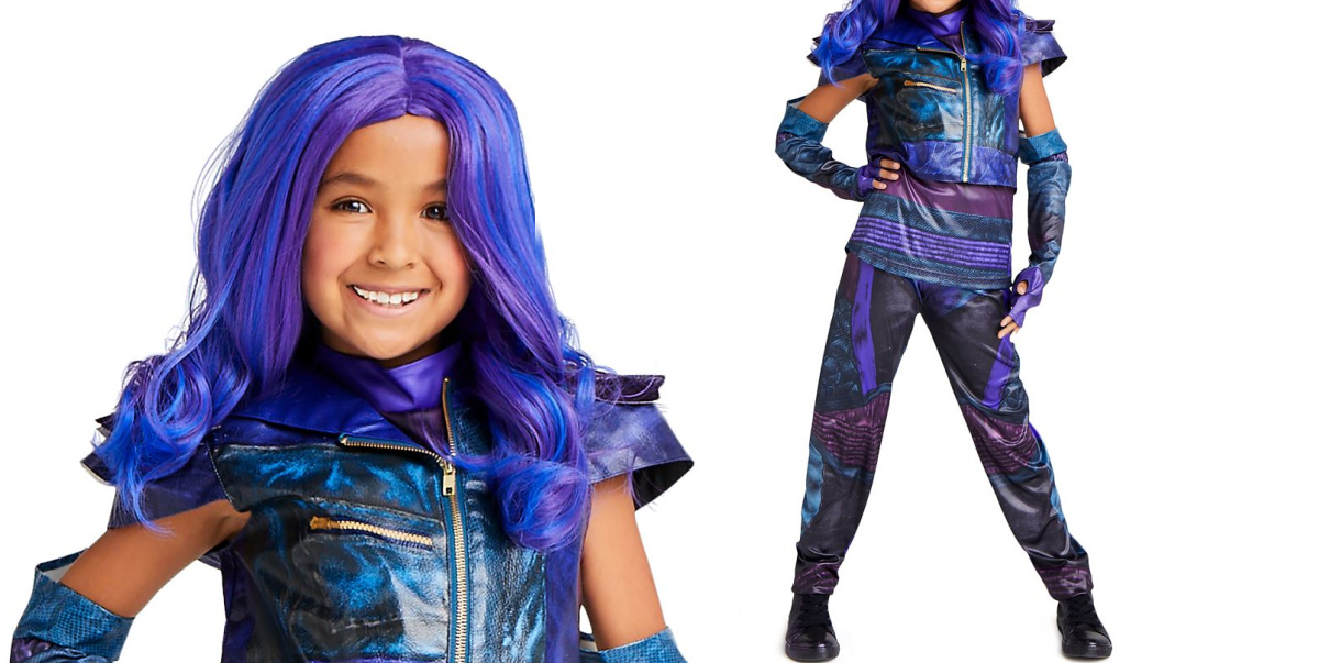 girl wearing purple wig and matching outfit