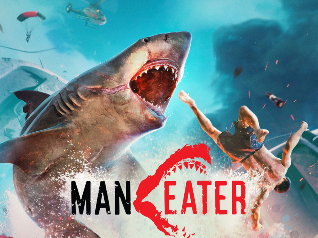 cover of video game with shark and man