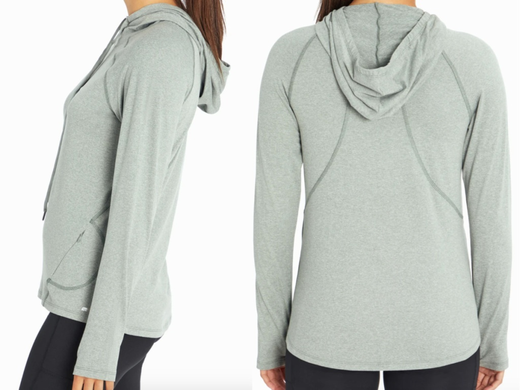 side view of woman and rear facing wearing a marika Flex Long Sleeve Hoodie