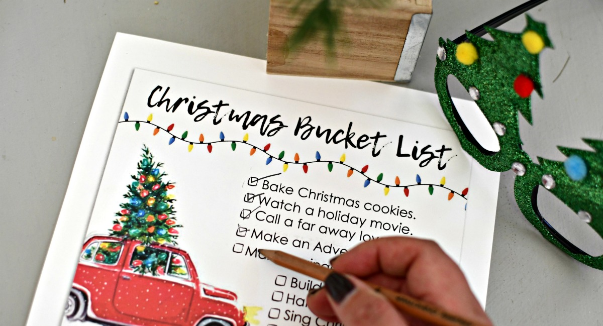 marking off items on christmas bucket list