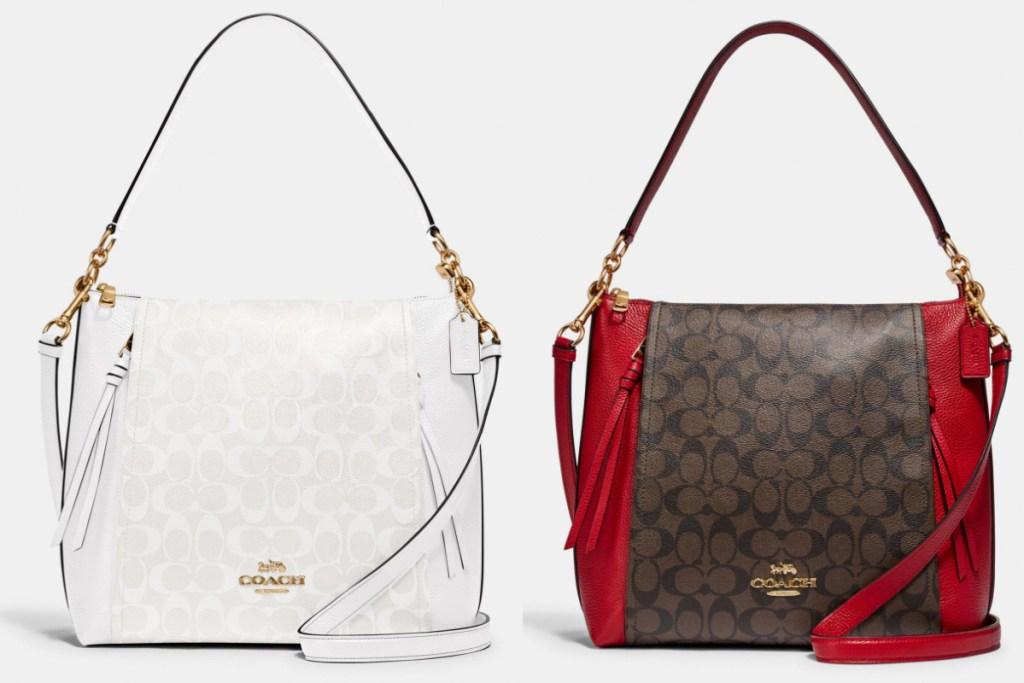 marlon hobo bag white and red