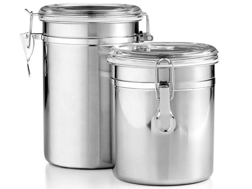 2 stainless steel containers