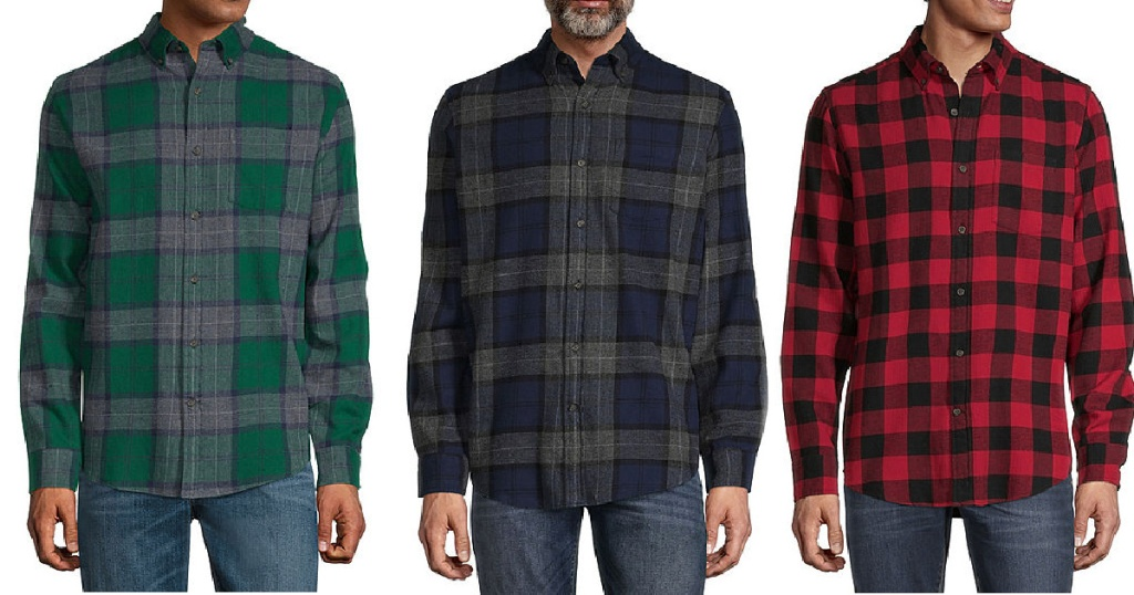 three men in flannel shirts on white background