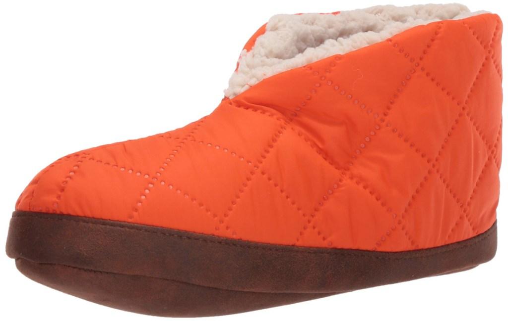 dearfoams mens bootie slippers in orange